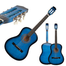 "New Beginner Willow 38"" Plywood 19 frets Acoustic Guitar Blue for Music Lover"