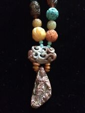 Kwan Yin Pendant With Carved Chinese Beads Necklace.