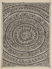 """Madhubani Folk Art Black & White Painting Tribal India Tattoo art size 22x30"""""""