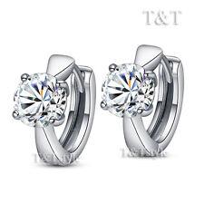 T&T 18K White Gold GF Luxury Hoop Earrings (ED88)