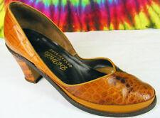 7-7.5 vintage 40s brown alligator DE MILO by SHENANAGANS babydoll pumps shoes