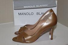 New Manolo Blahnik Puspapi Crisscross Gold Patent Leather Pump Shoes sz 10 / 40