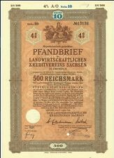 ALLEMAGNE GERMANY OBLIGATION HYPOTHECAIRE CREDIT AGRICOL 500 REICHMARK 1940 VRAI