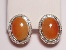 jadeite orange yellow(golden) jade earrings, diamonds, solid 14K yellow gold.