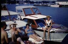 1962 Dynacolor six Slides Photos Boating Drinking Black Label Beer Fun In Sun