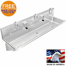 """Multistation 3 Users Wash Up Hand Sink 72"""" Manual Faucet Stainless S Made In Usa"""