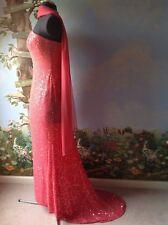 Lillie Rubin Train Dress Women's Coral Silk Sequin Evening Strapless Size 10