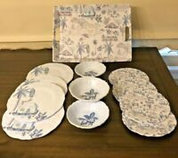 13 Pc SET Tommy Bahama Melamine Parrot Tropical Palm Tree Beach Plates Bowls +