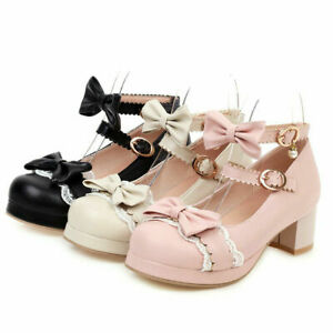 Womens Cute Sweet Uniform Lolita Bow Ankle Strap Round Toe Mary Jane Pumps Shoes