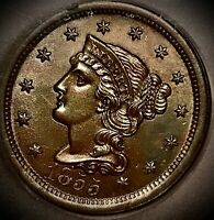 1855 large cent Upright 5s Ms64