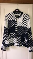 Womens Riverisland Summer Bomber Jacket Size 12 Navy & White