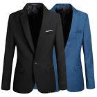 Fashion Formal Men's Slim Fit One Button Suit Blazer Business Coat Jacket Tops