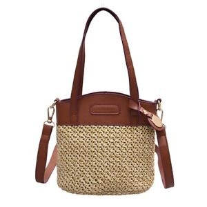 Women Straw Satchel Bag Wicker Bali Summer Bag Totes Crossbody Bag