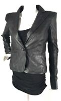 Trouve Womens Black Genuine Leather Bottom Line Coat Blazer Jacket Size Small