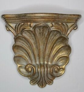 """Unique Wooden Wall Shelf Sconce Corbel Green and Gold Patina 8 x 9"""" Replica"""