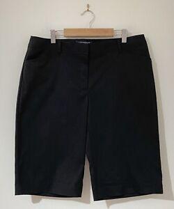 Sportscraft Size 12 Women's Shorts Black Cotton Nylon Mid Rise Pockets Bermuda