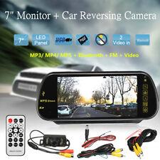 7'' LCD Bluetooth MP5 FM Car Rear View Mirror Monitor Kit + HD Reversing Camera