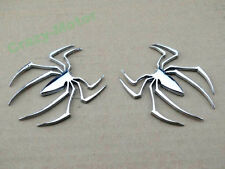 Chrome Metal 3D Spider Gas Fuel Tank Fairing Body Decal Sticker Motorcycle Car