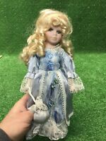 Cathay collection porcelain doll 662/5000 Blonde Hair Blue Eyes Blue Dress