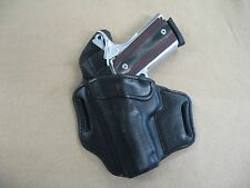 Colt Officer 1911 OWB Leather 2 Slot Molded Pancake Belt Holster BLACK LEFT HAND