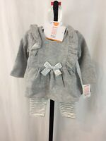 NWT Carters 2 Piece Outfit Baby Girls 3 Months Gray Pants  L/S Shirt