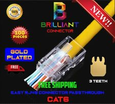RJ45 connector pass through gold plated CAT6/CAT6e 200 Pieces