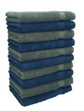 Betz lot de 10 serviettes débarbouillettes Premium: bleu foncé & gris anthracite