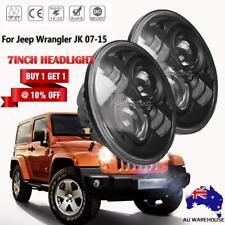 Pair 7Inch CREE H4 LED Headlights Hi/Lo Beam Halo DRL 07-17 Jeep Wrangler JK AU