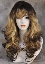 BOUNCY LONG WAVY Curly Light Brown Brown mix WIG with bangs JSCA YP4-273
