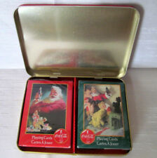COCA COLA Tin 1996 with 2 Decks of Playing Cards Christmas Santa Nostalgia  NIP