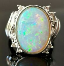 Amazing Multi Flash Australian Opal Diamond Platinum ring SZ 7