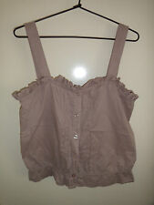 SUPRE Cute Brown Frilled Button Cami Top Size L