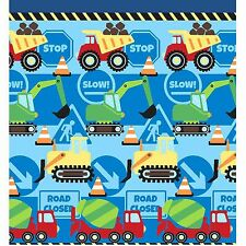 """CONSTRUCTION TIME 66"""" x 72"""" FULLY LINED CURTAINS + TIE-BACKS TRUCKS DIGGERS"""