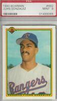 Juan Gonzalez 1990 Bowman Rookie Card #492 MINT 9 Texas Rangers
