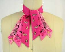 Vintage 40s/50s Pink Silk Hand Painted Ascot Scarf