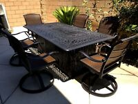 Fire pit dining propane table set 7 piece outdoor cast aluminum patio furniture