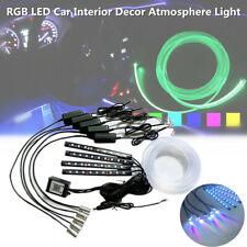 RGB LED Car Decor Atmosphere Light Strip Wire Lamp Optic Fiber Bluetooth Control