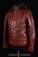 Men's GHOST PROTOCOL Antique Washed Brown Hooded Real Lambskin Leather Jacket