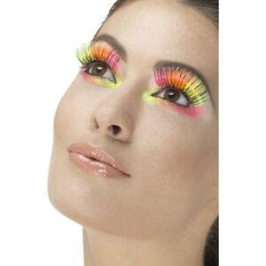 Neon False Eyelashes 80s Multi Coloured Fake Lashes + Glue Fancy Dress