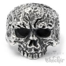 Edelstahl Totenkopf Ring verrotteter Piraten Skull silber hochweriger Bikerring
