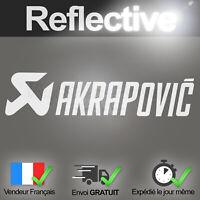 Sticker AKRAPOVIC Blanc Réfléchissant Autocollant Moto Reflective Decal Deco Pro