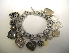 """Antique Sterling Silver Heart Charm Bracelet various kind 14 Charms Long 7 3/4"""""""