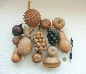 13 Beautifully Carved Wooden Fruits. Fig, Kiwi, Pineapple, Pear, Lychee etc etc