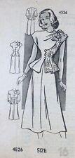 Vtg 1940s Mail Order Anne Adams 4526 Shoulder Bow Peplum Dress Sewing Pattern 16