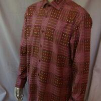 Bertigo Long Sleeve Button Dress Shirt Large Purple Brown Plaid 4 Euro