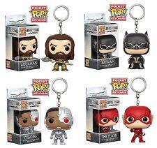 Funko Justice League Pocket POP KeyChain - Batman, Aquaman, Flash, Cyborg (4pc)