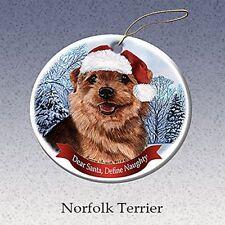 Holiday Pet Gifts Norfolk Terrier Santa Hat Dog Porcelain Christmas Ornament