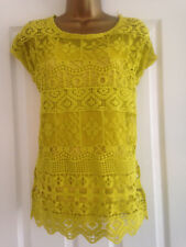 NEXT Ladies Yellow Short Sleeve Crochet Top & Camisole Set Size S Small