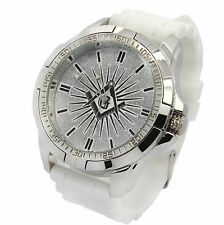 Mens Techno King Silver Tone Case Mason White Silicone Band Quartz Wrist watch