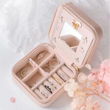 Pink Mini Stud Earring Rings Jewelry Storage PU Box Travelling Organizer Gift